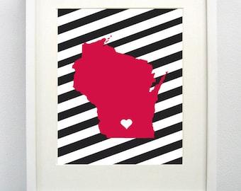 Madison, Wisconsin State Giclée Map Art Print  - 8x10 - Graduation Gift Idea - Dorm Decor