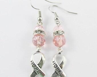 Pink Crystal Hope Awareness Ribbon Charm Hook Earrings 52mm Brass Hooks