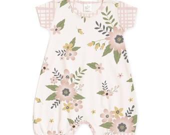 SPRING SALE! Newborn Girl Coming Home Outfit Summer, Baby Girl Outfit Summer, Baby Short Sleeve Romper, Pink Floral Baby Romper