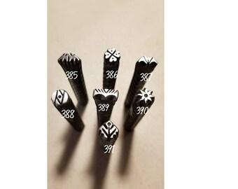 44, metal stamping tools, good luck stamp, 4 leaf clover, sunburst stamp, border stamp, heart stamp, jewelry making tools, leather stamp