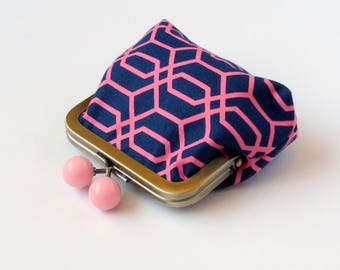 Mini Clutch, Coin Pouch, Change Purse, Clasp Coin Purse, Metal Frame Pouch, Purse Accessory, Travel Jewelry Bag, Organizer, Navy Pink