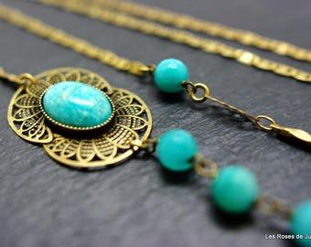 Luna long art deco necklace, long necklace art deco amazonite, bronze