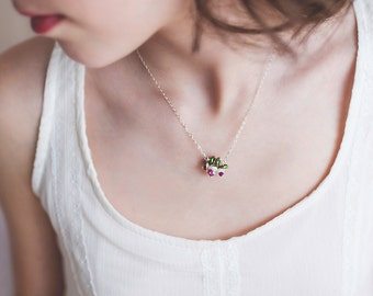 Real Ruby Necklace, Sterling Silver, Flower Blossom, Christmas Jewelry, Genuine Freshwater Keshi Pearl, Wire Wrapped Jewelry