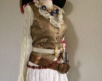 Large Vintage Pirate Halloween Costume With Jewelry & Accessories Included - Large