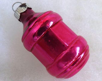 Vintage Shiny Brite Christmas ornament, barrel lantern ornament, hot pink glass ornament, mercury glass ornament, no 2