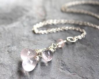 Teardrop Rose Quartz Necklace, Pink briolette Trio of Gemstones, Sterling Silver Rose Quartz Jewelry