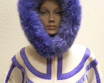 Wool Coat Linda Lundstrom La Parka White Purple Fur Trim Winter Jacket Art to Wear Vintage 80s