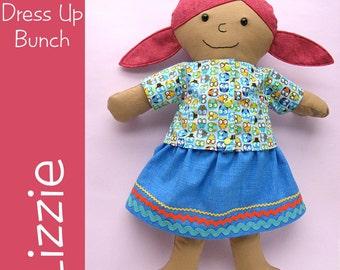 Lizzie - a Dress Up Bunch Rag Doll Pattern (dressable doll, PDF, digital pattern)