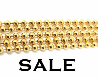 Vintage Gold Plated Ball Chain Findings (2X) (C563) SALE - 25% off
