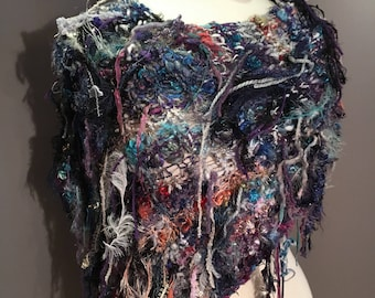Fringed Plush Knit Poncho,  Dumpster Diva 'Wonderlust' Mixed fiber Fringed Wrap, Fringed Ponchos, wearable art, huntress, hand spun mohair