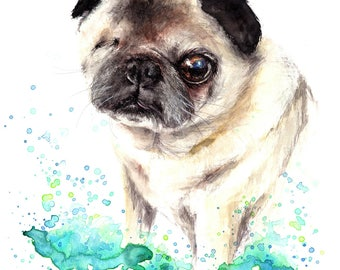 Pug Dog painting print, High quality print, painting was originally made with watercolour and pastels