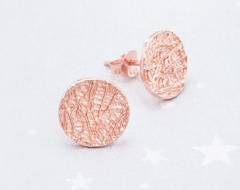 1 Pair of 925 Sterling Silver Rose Gold Vermeil Style Textured Circle Stud Earrings 11mm.  :pg0463