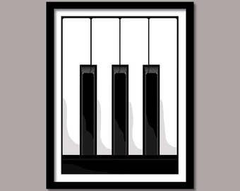 Piano Keys, Still Life Piano, Piano Digital Print, Digital Download, Wall Decor, Black White Piano, Art Prints, Printable Art, Minimalist