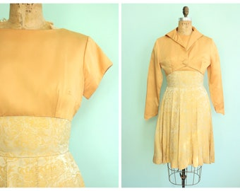 Vintage 1960's Gold Brocade Party Dress   Size Small