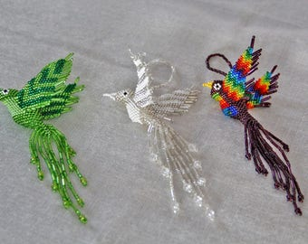 Hummingbird Holiday Ornament, Beaded Christmas Tree Ornament, Guatemalan-made