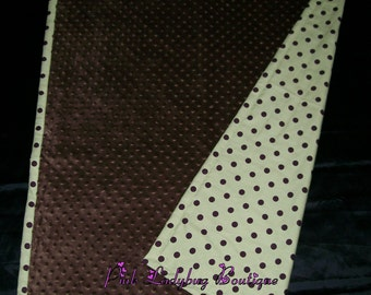 Reversible Blanket - Sage Green and Brown - Sage Green, Brown Dots Cotton and Brown Dot Minky Soft Blanket Cover Quilt is Ready to Ship