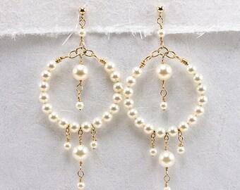 Pearl Hoop Earring, Cream Pearl Earrings, Beaded Hoop Earring, Gold Filled or Sterling Silver