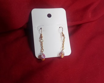 Multicolored glass bead on gold chain earring