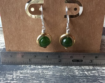 balance- jade with brass and sterling silver earrings dangle drop summer