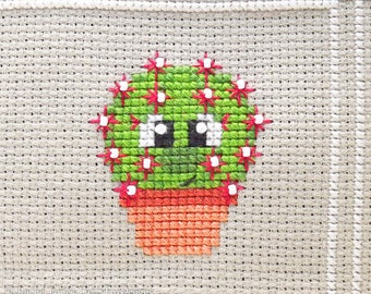 Becky the Cactus Cross Stitch Pattern PDF | Ball Barrel Cactus | Prickly but Cute Stitch-a-Long | Easy Modern Beginners Counted Cross Stitch