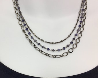 Triple Choker | Gunmetal Silver Necklace | Iolite Necklace | Triple Strand Necklace | Satellite Chain Necklace | Multi Strand Necklace