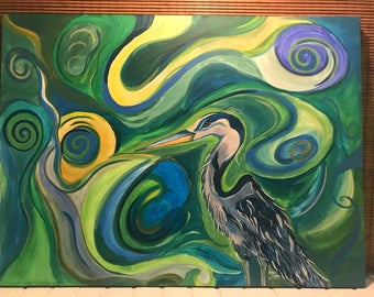 The Great Blue Heron 30x40 ORIGINAL painting