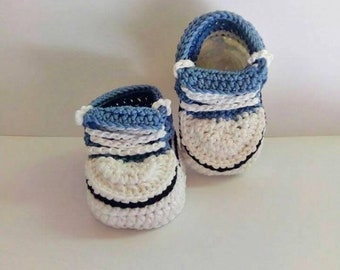 Crochet converse - Summer baby boy shoes - Baby shower gift