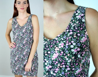 Vintage 90s Grunge Mini Ditsy Floral Print Dress