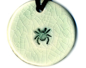 Tiny Spider Ceramic Necklace under Crackle Glaze