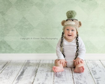 Newborn Sock Monkey Hat, Photography Prop, 3 - 6 Months Hat, Newborn Photo Prop, Neutral Photo Prop, Toddler Sock Monkey Hat, Monkey Hat