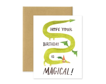 Magical Birthday Dragon Illustrated Greeting Card • Cute Fantasy Happy Birthday Stationery • Drake • Wyvern