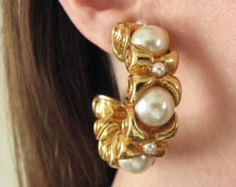 Alexis Lahellec earrings - 80s vintage gold pearl metallic clip-on designer costume jewelry big oversized hoop large statement french paris