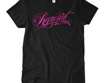 Women's Represent T-shirt - S M L XL 2x - Ladies' Script Tee - 4 Colors