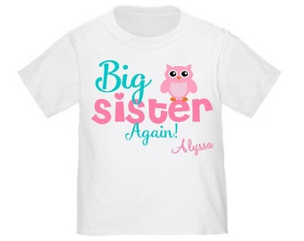 Big Sister Again Owl Personalized T Shirt Big Sister tshirt