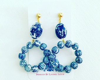 Blue and White Chinoiserie Hoop Earrings | GOLD, navy, royal, hoops, dainty, lightweight, posts