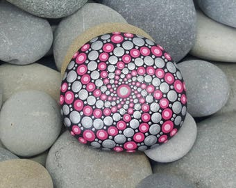 Pink Metallic Painted Rock - Silver Mandala Stone - Painted Stone - Meditation Mandala Rock - Dot Art - Chakra - Paperweight