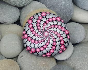 Pink Metallic Painted Rock - Silver Mandala Stone - Painted Stone - Meditation Mandala Rock - Dot Art - Chakra - Paperweight