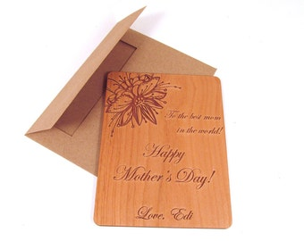 Wooden Mother's Day Card - Personalized, Custom Card