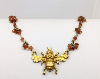 Carnelian Bead Necklace with Gold Plated Bumble Bee Necklace