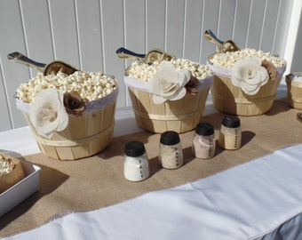 Popcorn Bar | Large Basket | Burlap Flower | Party in a Box