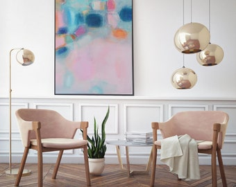 blush Pink Turquoise soft pastel feminine art, Modern pink blue art canvas, Boho interior trends, Pink and Navy giclee canvas print wall art
