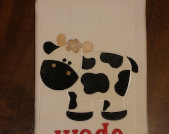 Personalized Cow Burp Cloth