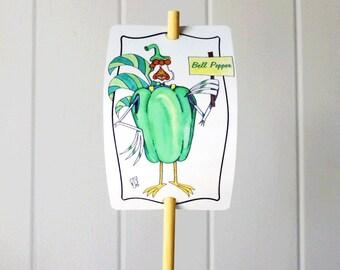 Vegetable Marker Bell Pepper for Gardens Decor Hand Shaped Fun Aluminum Sign