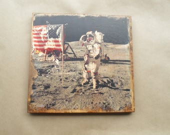 Astronaut picture, Astronaut wall art, space decor, Astronaut saluting flag, astronaut on moon, astronaut decor, retro space theme