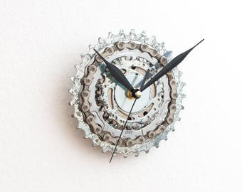 Small Wall Clock, Bicycle Clock, Unique Bike Clock, Industrial Decor, Decorative Clock, Contemporary Clock, Boyfriend Gift, Husband Gift