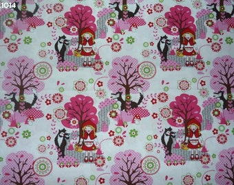 Fabric C1014 little Riding Hood red trees pink coupon 35x50cm