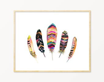 Feather Watercolor Art Print. Tribal Feather Painting. Neon Feather Wall Art. Bright Nature Art. Boho Feather Gallery Wall Print. Goth Art.