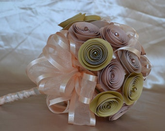 Wedding Paper Bouquet Warm Colors with Crystals