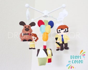 UP Mobile, Baby Mobile, Baby Crib Mobile, Nursery Inspired by Disney UP, House Balloons Nursery Decor, Carl, Russell, Dog Dug