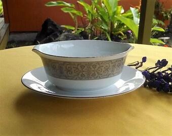 Noritake China Gravy Boat Justine Pattern #6806, Vintage Made in Japan China Gravy Bowl, Tan and Gold Floral Design Gravy Serving Bowl